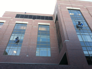 cleaning building exterior